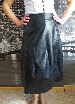 Черная модная юбка миди, эко-кожа