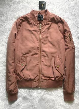 Новый бомбер куртка демисезонная пудровая утеплённая
