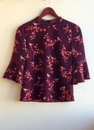 Блуза с цветочным принтом primark бордовая блуза
