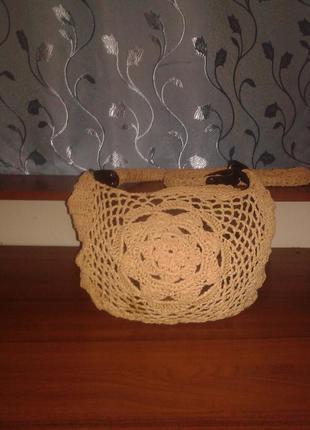 Красивая плетенная сумка-мешок