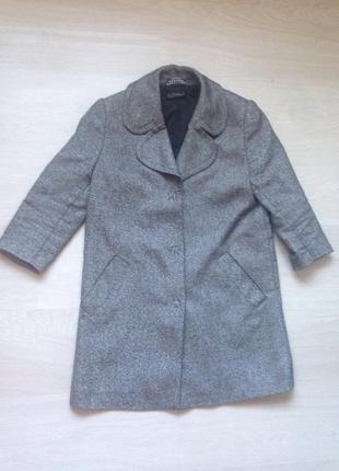Осенний пиджак-пальто серый