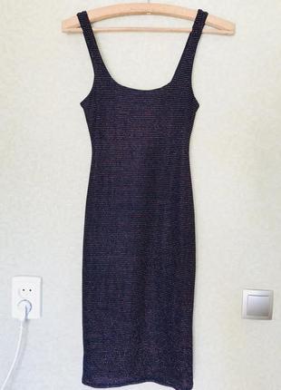 Платье майка миди с нитью из люрекса