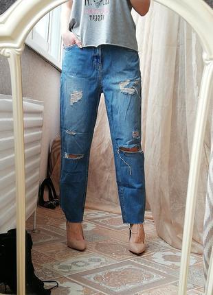 Крутые рваные джинсики бойфренды коттон river island