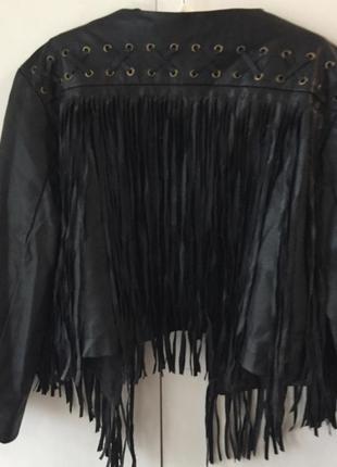 Куртка косуха s m h&m с бахромой и шнуровкой