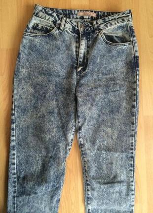Крутые вареные джинсы-момсы bershka