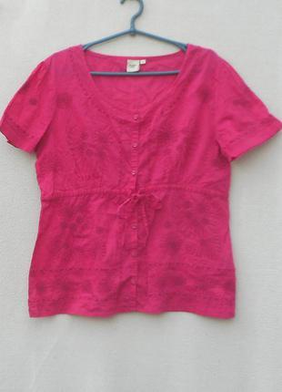 Розовая летняя хлопковая блузка -вышиванка с коротким рукавом