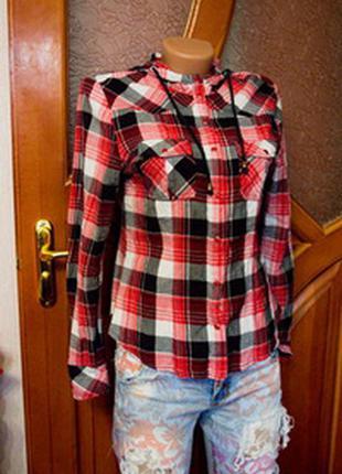 Рубашка клетчатая в клетку с капюшоном 100% коттон