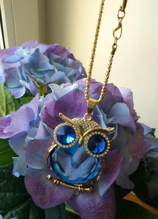 Подвеска кулон сова золото синий
