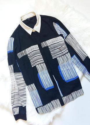 Next стильная шифоновая рубашка м 46-48блуза черная синяя узор блузка