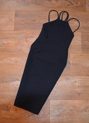 Черное миди платье boohoo