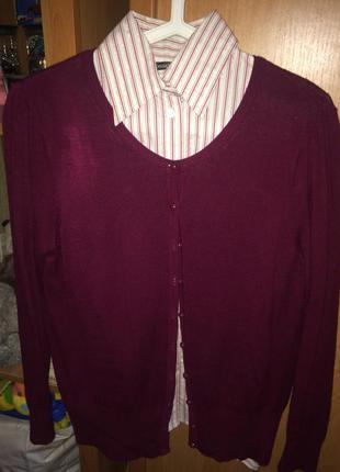 Рубашка и кофта цвета марсала