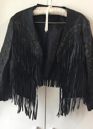 Куртка h&m 💣 38 с бахромой и шнуровкой