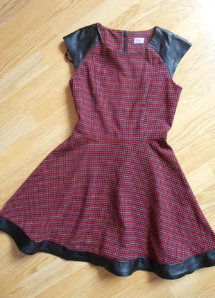 Платьице в клеточку с кожаными вставками, f&f