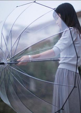 Качественный прозрачный молодёжный зонт трость 14 спиц плотный купол поливинил