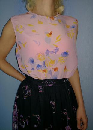 Пудровая блуза 100% шёлк
