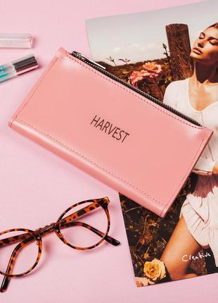 Женский кожаный кошелек на молнии double, light pink