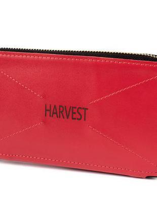 Женский кожаный кошелек на молнии red