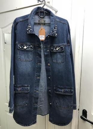 Кардиган куртка джинсовая длинная парка л-5хл с бусинами3 фото