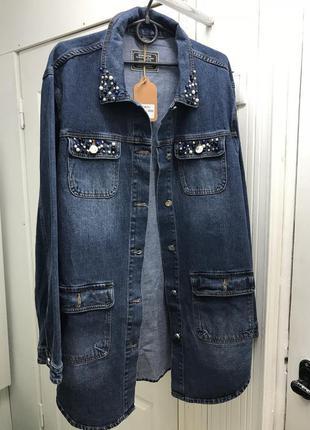 Кардиган куртка джинсовая длинная парка л-5хл с бусинами4 фото
