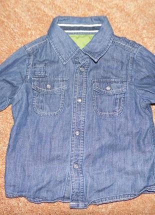 Рубашка джинсовая лёгкая m&s 1.6-2 года