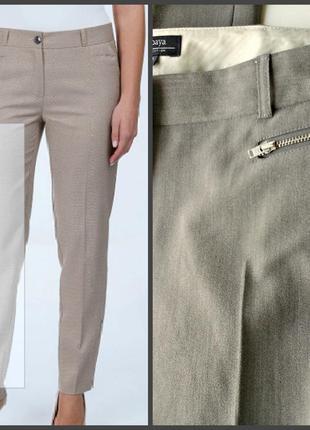 Офисные брюки из плотной стрейчевой ткани, оттенок серо-бежевый (тауп)