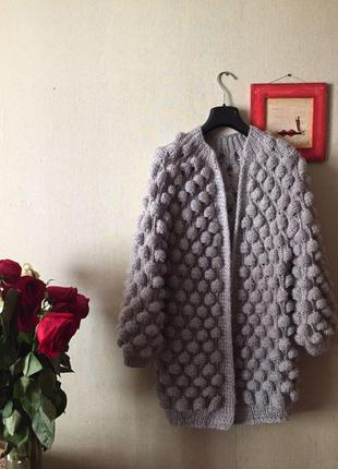 Женский вязаный объёмный кардиган кофта свитер малинки,шишечки,шишки