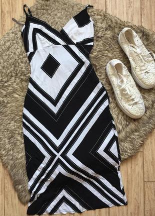 Черно- белый сарафан. платье миди