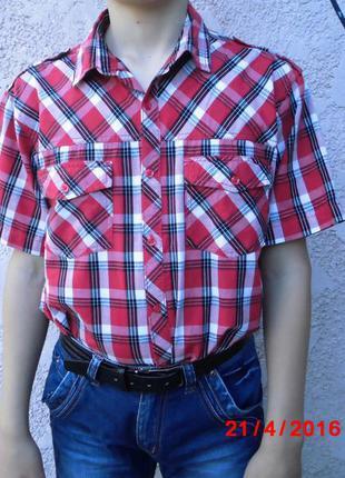 Мальчиковая летняя рубашка в красную клетку