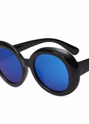 Черные овальные зеркальные массивные солнцезащитные очки синий металлик