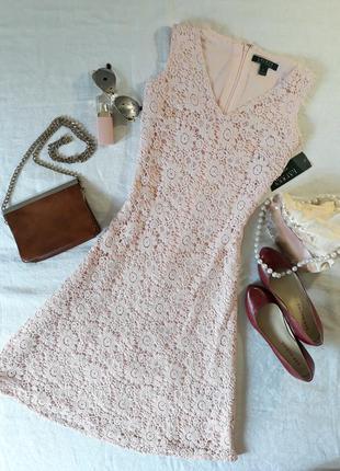 🌹 нежно-розовое кружевное платье от  lauren ralph lauren, xs-s🌹