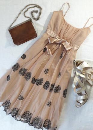 Шифоновое платье нюдового цвета с вышивкой, m-l💍💍💍
