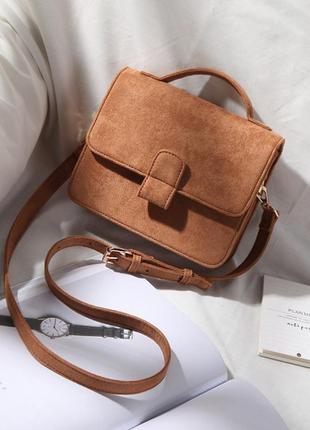 """Красивая коричневая небольшая сумка micocah через плече """"портфель"""" кросс-боди"""