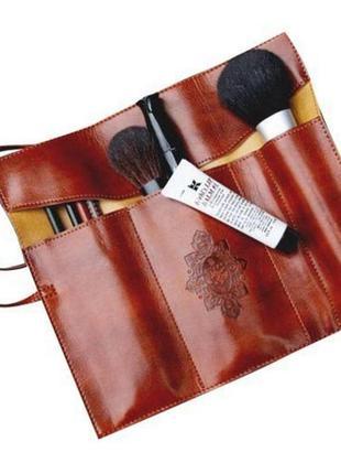Футляр пенал чехол для кистей или ручек коричневый