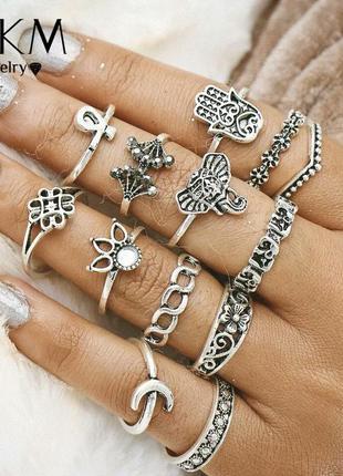 Набор колечек на фаланки пальцев/ маленькие кольца металл
