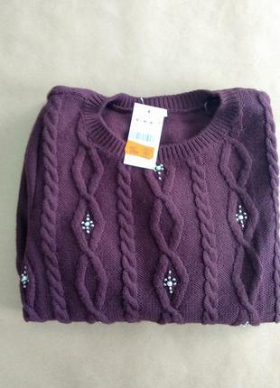 Вишневый вязанный свитер pimkie