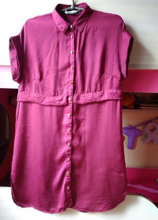Актуальное платье - рубашка бордового цвета