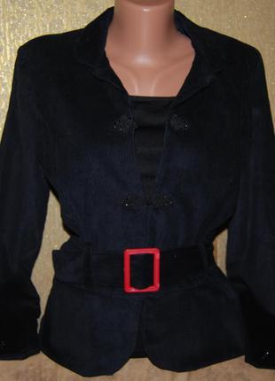 Крутейший черный натуральный пиджак вельвет с поясом