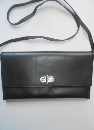 Кожаный клатч сумка на длинном ремешке vera pelle