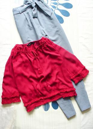 Красная блуза блузка с кисточками сорочка вышиванка с вышивкой с бахромой