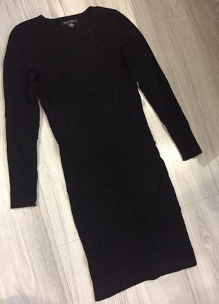 Черное классическое платье миди/нарядное бандажное платье
