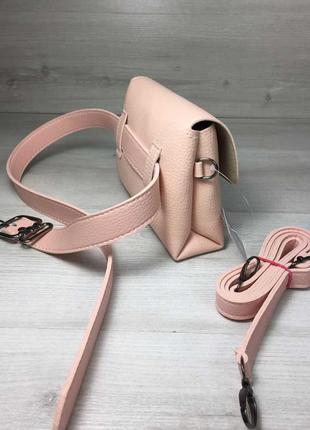 Розовая маленькая сумка на пояс летняя с ремешком через плечо2 фото