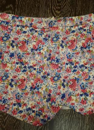 Юбка-шорты шорты с цветочным принтом хлопковые