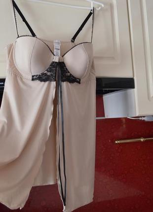Бежевый нюдовый пеньюар 80 c  брендовое качество! пижама , ночнушка