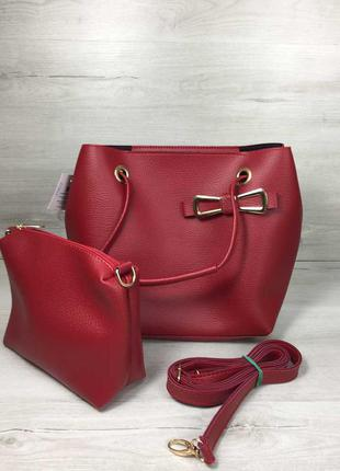 Красная женская сумка с ручками и ремешком через плечо с косметичкой