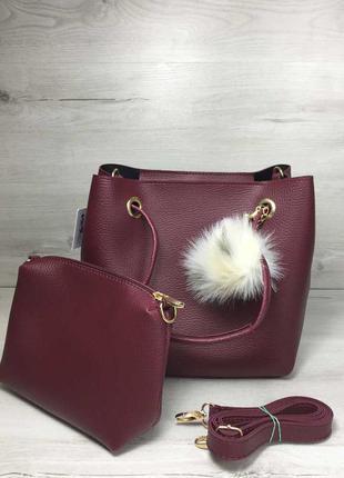 Бордовая сумка на плечо 2 в 1 с косметичкой