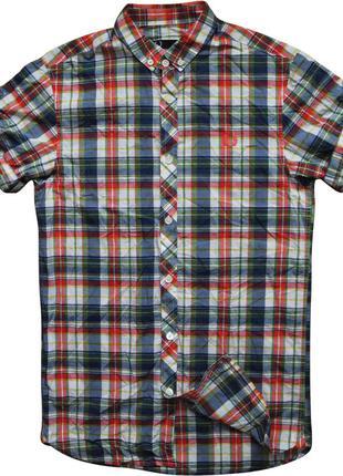 Мужская рубашка безрукавка в клетку цветная яркая сочная красная fred perry xs s
