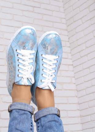 Кожаные кроссовки голубого цвета3 фото