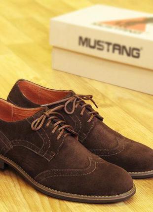 Мужские туфли, броги, коричневый замш бесплатная достака (код: 1620) 40,41,42,43,44,45 рр