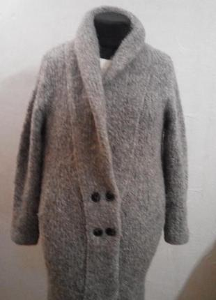 Вязаное пальто кардиган шерсть - альпака s/m