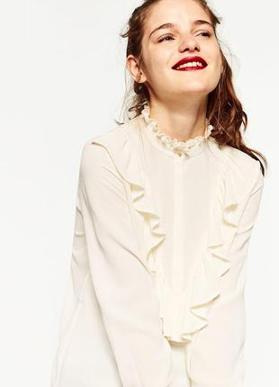 Шикарная молочная блуза с волнами, рюшами, шыфоновая блузка с воланами, рубашка, кофточка